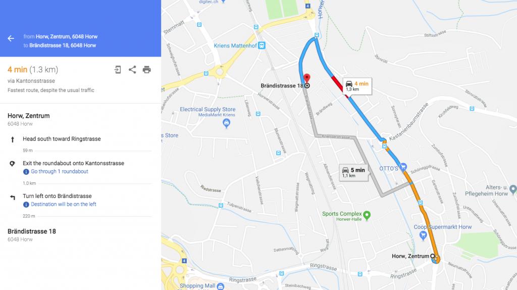 der raum Wegbeschreibung, google maps, Route from Horw Zentrum